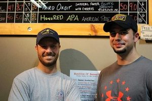 Veterans Matt Eide, left, and Allen Raanes served up HonoRED Ale at the Ordnance Brewing Taproom in Wilsonville in celebration of Veterans Day. Proceeds benefit University of Western States in the Russell neighborhood. COURTESY KATE VIRDEN
