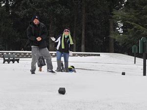 A snowball fight at Glendoveer. STAFF/2016