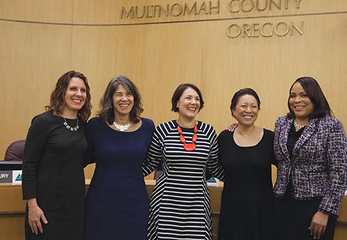 The recently reconstituted Multnomah County Board is, from left, Chair Deborah Kafoury, commissioners Sharon Meieran, Jessica Vega Pederson, Lori Stegmann and Loretta Smith. The county welcomed three new commissioners—Vega Pederson, Stegmann and Meieran—to its board in January, making it the first majority people of color and the seventh board in the county's more than 160-year history that is comprised entirely of women. COURTESY MULTNOMAH COUNTY