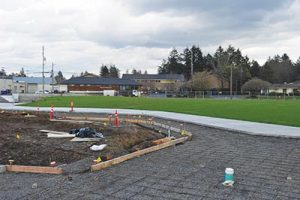 Construction on the three-acre Gateway Discovery Park continues despite the recent severe winter storms. It is still set to open this fall. STAFF/2017