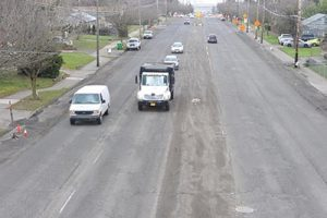 """Northeast 122nd Avenue between Northeast San Rafael and Siskiyou streets was """"scored"""" a while ago and awaits repaving. Portland Bureau of Transportation crews have been kept busy by the unusually harsh winter; however, finishing work is expected this spring. STAFF/2017"""