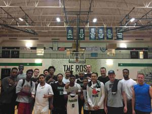 PHS alumni bested varsity basketball players 86–84 and in the process raised $700 in support of the boys program. Participating were Alexander Loul (PHS Class of 2009), left, Wilfried Likayi, Sabbona Ashenafi, Cody Rowley (2015), Jimmy Boland, Isaac Bonton, Scar Johnson, Michael Boyd (2010), Elijah Graham (2008), Chris Wilson, Michael Carter (2003), Deangelo Dunbar, Jordan Barber (2009), Justin Tran, Matt Andrews (1995), Ben Andrews (1992), Dominique DeWeese (staff) and Jason Leadley (PHS Class of 1992). Organizers hope to use this event as a springboard to revive the annual Parkrose Legends Tournament. COURTESY TRAVIS RICHARDSON