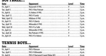 April 2016 – Parkrose High School Athletic Schedule