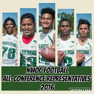Parkrose football players, from left, Dae'Lonzo Floyd White, Spencer Tatafu, Sosefo (Joe) Moeaki, De'Andre Pickett and Eliass Hardman won Northwest Oregon Conference honors last month. COURTESY MELISSA WILLIAMS PHOTOGRAPHY
