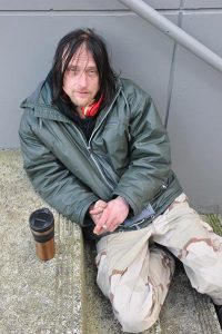 "Davey Widmin, homeless since 2014, had just been expelled from the Hansen Shelter on Northeast 122nd Avenue and Glisan Street for threatening to blow up the building. ""They're pretty touch over there,"" he said. The Portland native is not only HIV Positive, but also suffers from Crohn's Disease. He said he had no idea where he was going to find shelter for the night. ""Good thing the weather's getting better."" STAFF/2017"