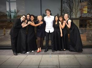Parkrose High Choir Director Lesley Bossert with All-NW Honor Choir members, from left, Easton Fiser, Noelle Bell, Mahina Ajifu, Kai Fiser, Angelea Nguyen, Grace Trang and Kate Grobey celebrate performing with over 200 singers from six states under the direction of Anton Armstrong. COURTESY PARKROSE HIGH