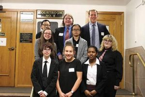 DDHS Mock Trial team: back row, from left, Katie Lai, Dylan Waddell, Coach Joseph Cornett. Second row, from left, Alex Walker, Huong Nguyen, Summer Picard. Front row, from left, Trinity Morris, Annabelle Sukin, Sam Yosef. COURTESY DAVID DOUGLAS SCHOOL DISTRICT