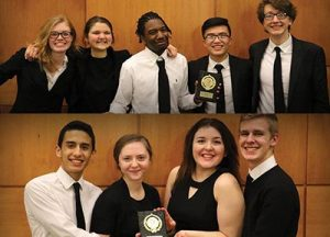 PHS government students at the annual We the People Constitution competition. Top image, from left, Kylie Storm, Genevieve Church, Arthur Robinson, Ngan Nguyen, and Kai Fiser. Bottom image, from left, Nestor Perez, Revekka Shiryayeva, Taeya Hillman-Johnson, and Baine Dupee. COURTESY PARKROSE HIGH SCHOOL