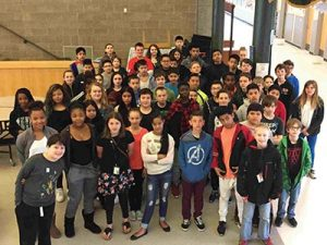 Ron Russell Middle School students getting their Timberwolf SWAG on. COURTESY RON RUSSELL MIDDLE SCHOOL