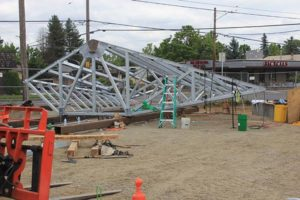 The steel canopy that will eventually cover the sitting area. Photo by Ygal Kaufman