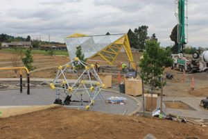 The future play area of the park, adjacent to the amphitheater stage. Photo by Ygal Kaufman