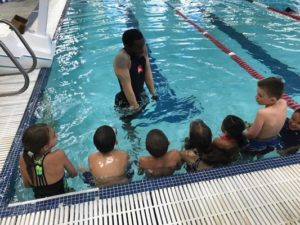 Instructor Dorsey Williams helps a group of beginning swimmers get comfortable in the water during a recent World Safe Swimming class. COURTESY SHANE DYE