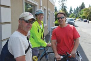 Chris and Jan Fuegy, from left, and their friend Don, are big fans of Sunday Parkways, a bicycle-centric event produced by the Portland Bureau of Transportation that cruises through different Portland neighborhoods. This year, routes in five different parts of Portland were blocked so riders and pedestrians could have the streets for a day. STAFF/2017