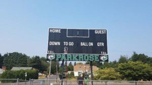 Over the summer, Parkrose High School updated the stadium press box, installed new scoreboards on the soccer and football fields (as well as at the swimming pool) and upgraded the gym floor. COURTESY DAUNTE GOUGE