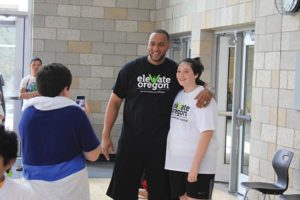 Morgan at the end of Elevate Oregon basketball camp. Photo by Ygal Kaufman