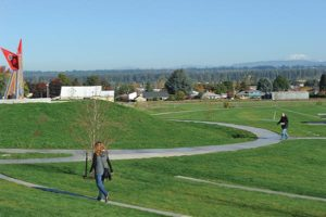 """Expansive lawns, great views of Mount St. Helens and """"Bird,"""" a 16-foot-high glass and mosaic sculpture, are a few of Luuwit View Park's amenities. STAFF/2017"""