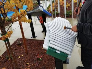 A xylophone. What? Yes, a permanent xylophone is in the playground area of the new park for people to make noise with. STAFF/2017