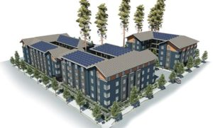 Aerial view of the Stark Street Apartments concept. COURTESY CENTRAL CITY CONCERN