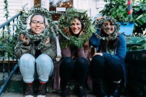 Crafters with wreaths created at the 2015 Prism House Do It Yourself craft fair in Parkrose. COURTESY BRIANA CEREZO
