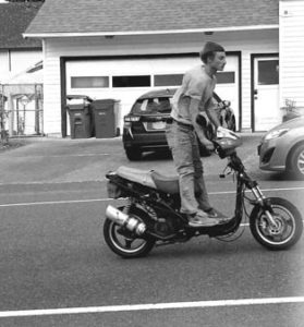 Besides running an alleged stolen car fencing operation and drug dealing enterprise out of his grandparents' home and general neighborhood thieving, Dahlen finds other ways to disturb neighborhood peace and quiet, like speeding up and down neighborhood streets on his unlicensed, uninsured, cacophonous motor scooter at all times of the day and night. COURTESY SEAN LECHNER