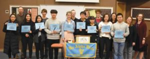 Portland Christian High National High School Mathematics Honor Society inductees, from left, Laura Oh, math teacher Andrew Jannsen, Jessica Lai, Carry Lin, Daniel Humphrey, John Choi, Avielle Jannsen, Kyle Wicklander, Lewis Long, Andrew Dailey, Arrow Zhang, Jesse Lortz, Caitlin Park, Ailis Collins, Bill Zhong, Principal Sherri James and math teacher and advisor Joeal Mazurowski. COURTESY SHEILA TRETTER