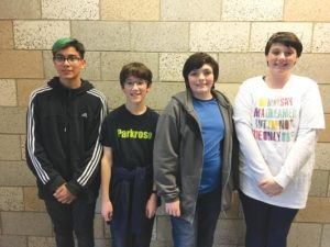 Parkrose Middle School students named to the state honors band and choir are, from left, Keegan Neely, trumpet; James Grant, French horn; Alixander Fernee, tenor; and Alizyna Fernee, alto. COURTESY KEIJA LEE