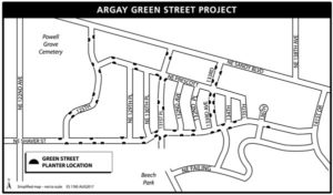 A construction map for the bioswale project in Argay Terrace. Courtesy of Portland Bureau of Environmental Services