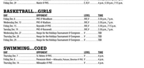 December 2017 – Parkrose High School Athletic Schedule