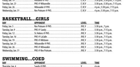 January 2018 – Parkrose High School Athletic Schedule