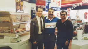 In a March 1988 photo, new Arco am/pm franchisee Joe Amhaz, center, poses with Frank Cauthorn, right, an Arco franchisee in Gresham and an unidentified Arco representative. COURTESY JOE AMHAZ