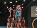 Scots cheerleaders performing at USA Spirit Nationals, where they claimed the second-place trophy. COURTESY CRYSTAL CORONA
