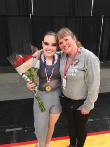 Shelbie Dunn, Parkrose Elite captain and state dance all-star, with her mom, Erica Sieverson Dunn, at the OSAA championships. COURTESY PARKROSE ELITE DANCE TEAM
