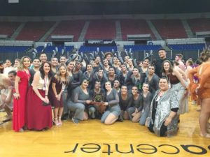 Parkrose Elite Dance Team with their OSAA fifth place trophy. COURTESY PARKROSE BRONCOS