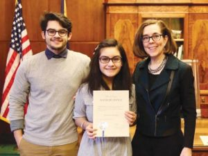 Adrian Ochoa, Karla Ochoa and Oregon Governor Kate Brown. Karla served as governor for a day in February. COURTESY PARKROSE SCHOOL DISTRICT