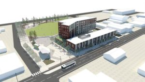 A rendering of the future mixed-use development on Northeast Halsey Street adjacent to the new Gateway Discovery Park on 106th Avenue. COURTESY GERDING EDLEN