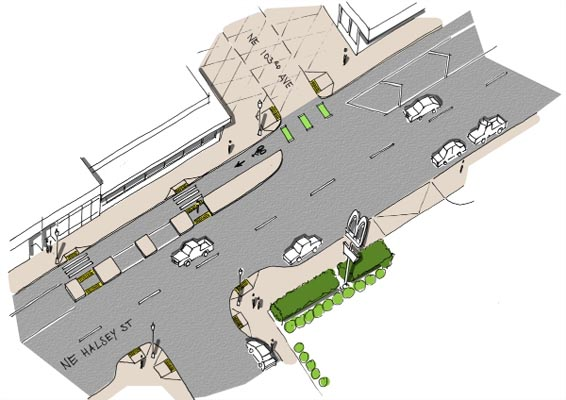 The Halsey-Weidler Streetscape Project, partially funded by Prosper Portland, will add protected bike lanes from Northeast 102nd to Northeast 114th avenues along Halsey Street. COURTESY PORTLAND BUREAU OF TRANSPORTATION