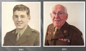 Mel Morasch wearing his Army uniform in 1943 and 2015.COURTESY MORASCH FAMILY