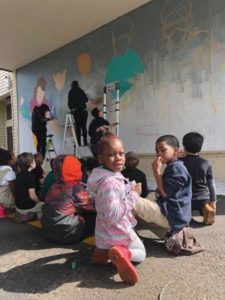 Prescott students get a class in mural-making. COURTESY MONET HAMPSON
