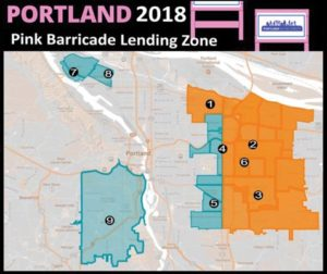 Map of the 2017 (orange) and 2018 (blue and orange) Block Party Pilot Area. PBOT has partnered with nine community organizations for the Pink Barricade Lending Program. COURTESY PBOT