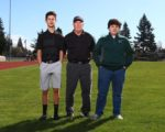 Portland Christian golfers Kameron Gomez and Connor Duckett with coach Ron Kuhnau. COURTESY NORTHWEST SPORTS PHOTOGRAPHY