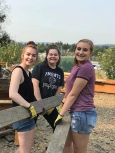 Columbia Christian School students helped build tiny homes as transitional housing for area homeless. COURTESY SHAUNA WAGNER