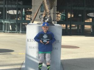 Chaz Johnson won the Seattle Mariners' Pitch, Hit and Run competition at Safeco Field. COURTESY BRAD JOHNSON