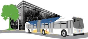 New buses on the line will be 60 feet long, 20 feet longer than the ordinary TriMet bus, and articulated. Multiple-door boarding makes quicker stops at stations and faster trips possible. COURTESY TRIMET
