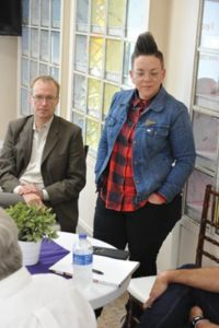 Marc Jolin, the director of Multnomah County's Joint Office of Homeless Services, and Stacy Borke, the senior director of programs at Transition Projects, speak about homelessness in east Portland in general, and the new Wy' East shelter for men specifically, at the September Gateway Area Businesss Association luncheon. STAFF/2018