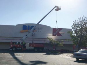 The Kmart sign is removed after the store closed in September. COURTESY KATHY KRUG