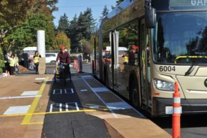 TriMet built an 18-foot-wide plywood mock-up of the 30 stations proposed for the stretch of Southeast Division Street between 82nd Avenue and Gresham to test their efficiency as part of the Division Transit Project. STAFF/2018
