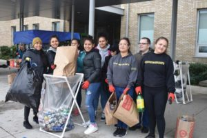 Parkrose Future Business Leaders of America students collecting refundable bottles and cans at the monthly pop can drive last month. STAFF/2018