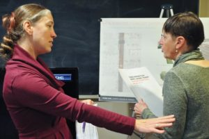 April Bertelsen, left, senior transportation planner with the Portland Bureau of Transportation, chats with Kathy Pape, senior public affairs director for Central City Concern about 122nd Avenue at last month's Gateway Area Business Association meeting. Bertelsen presented PBOT's 122nd Ave Plan: Safety, Access and Transit to the group. STAFF/2018