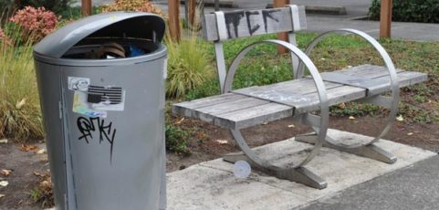 More custom trash cans and benches installed