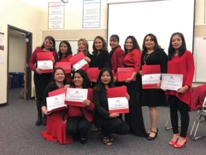 The first graduates of MHCC's newest career pathways program, Vocational English as a Second Language (VESL) Child Development Association—Preschool COURTESY NICK GOSLING/MHCC